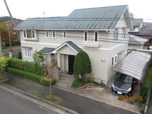 エスケー弾性プレミアムシリコンプラン 外壁SR407、屋根コーヒーブラック泉区桂H様邸屋根外壁塗装工事