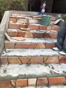 泉区館O様邸玄関階段アプローチ石貼工事
